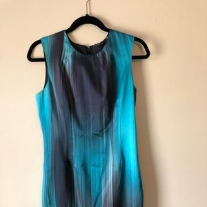 Elie Tahari sleeveless dress. Aqua/blues striped